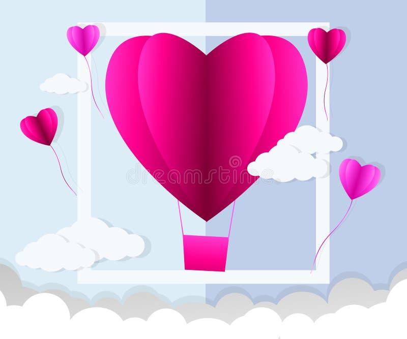 Día de tarjetas del día de San Valentín, ejemplo del amor, globo del aire caliente en un vuelo en el cielo, arte de papel de la f libre illustration