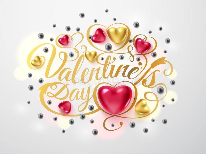 Día de tarjetas del día de San Valentín feliz Composición de la fuente del oro con la flecha, el rojo y los corazones del oro, go stock de ilustración