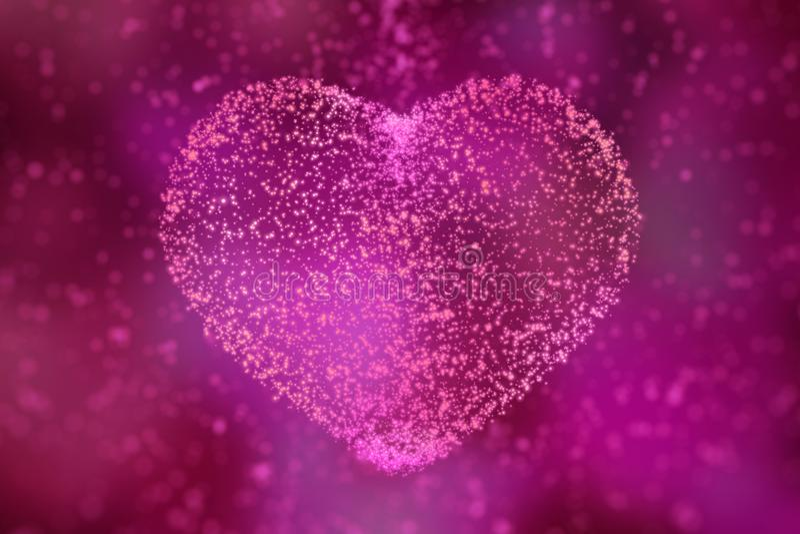 Día de tarjetas del día de San Valentín feliz corazón de partículas que brillan intensamente illustratio 3D ilustración del vector