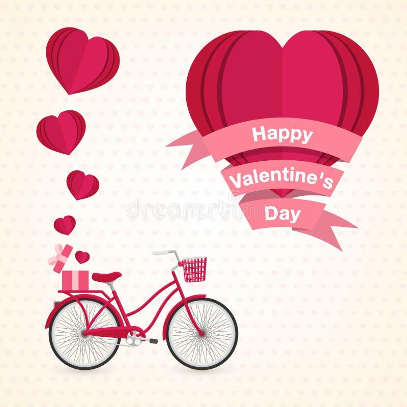 Día de tarjetas del día de San Valentín feliz corazón y bici hermosos de la invitación del amor stock de ilustración