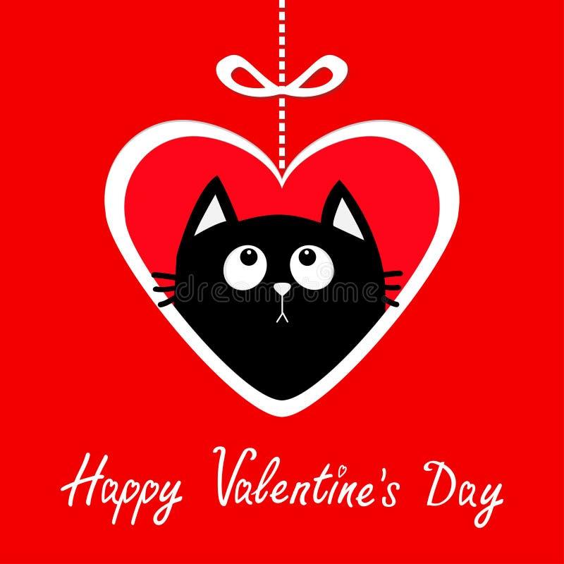Día de tarjetas del día de San Valentín feliz Hangin de papel grande del corazón en línea de la rociada con el arco Gatito del ga libre illustration