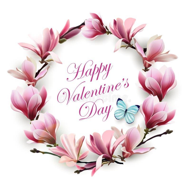 Día de tarjetas del día de San Valentín feliz de la tarjeta de felicitación con una guirnalda de la magnolia rosada de las flores stock de ilustración