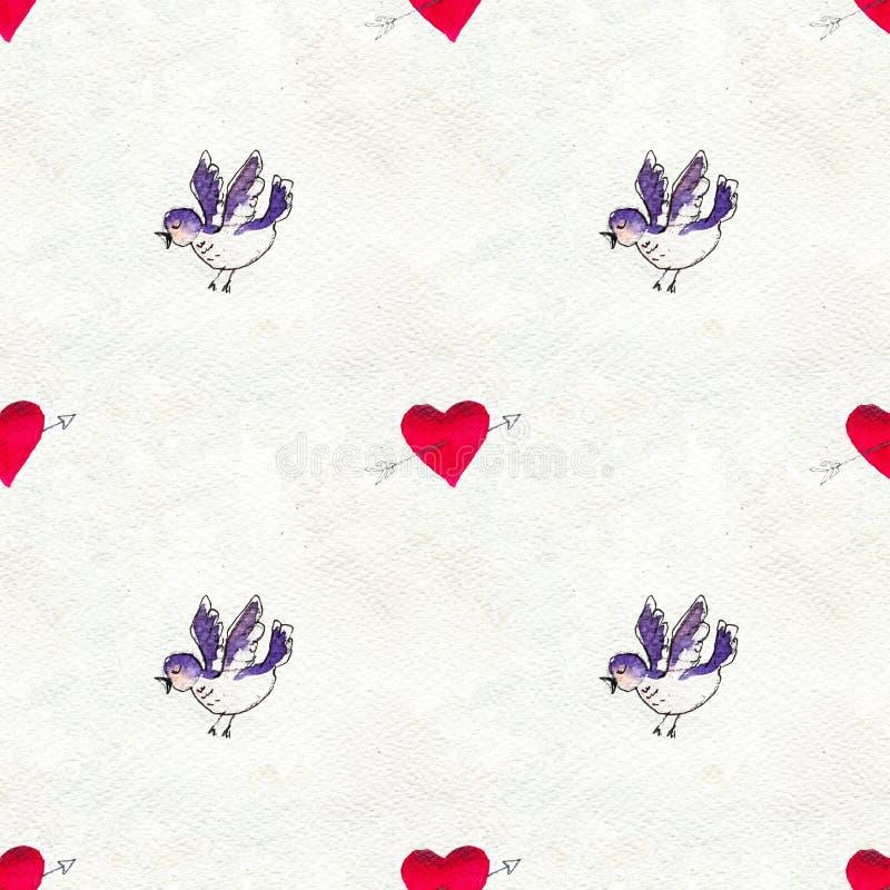 Día de tarjetas del día de San Valentín feliz Modelo inconsútil con los corazones y los pájaros rojos de la acuarela ilustración del vector