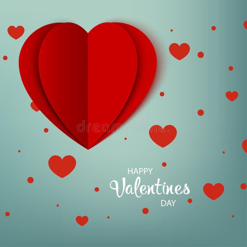 Día de tarjetas del día de San Valentín feliz Tarjeta de felicitación Corazón de papel rojo con la sombra en fondo con los corazo ilustración del vector