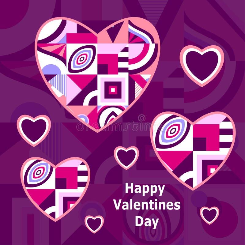 Día de tarjetas del día de San Valentín feliz Tarjeta o bandera de felicitación con el marco del corazón en el estilo de Memphis ilustración del vector