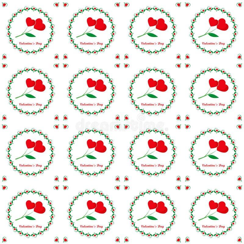 Día de tarjetas del día de San Valentín, modelo inconsútil floral stock de ilustración