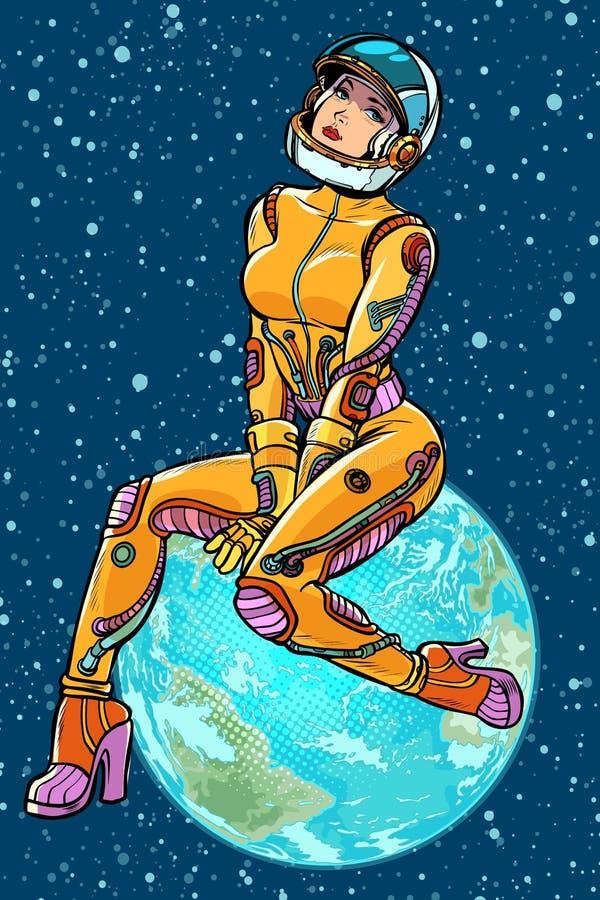 Día de tierra astronauta hermoso atractivo de la mujer stock de ilustración