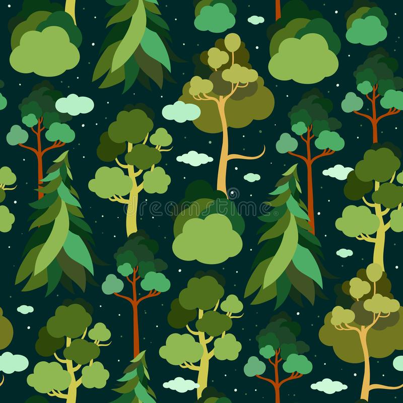 Día de tierra Modelo inconsútil con los árboles y las nubes en el fondo del cielo estrellado Pino, picea, tilo, abedul ilustración del vector