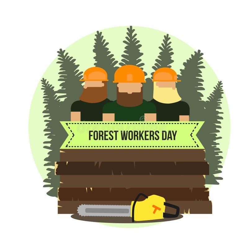 Día de trabajadores del bosque Tarjeta coloreada con los árboles ilustración del vector