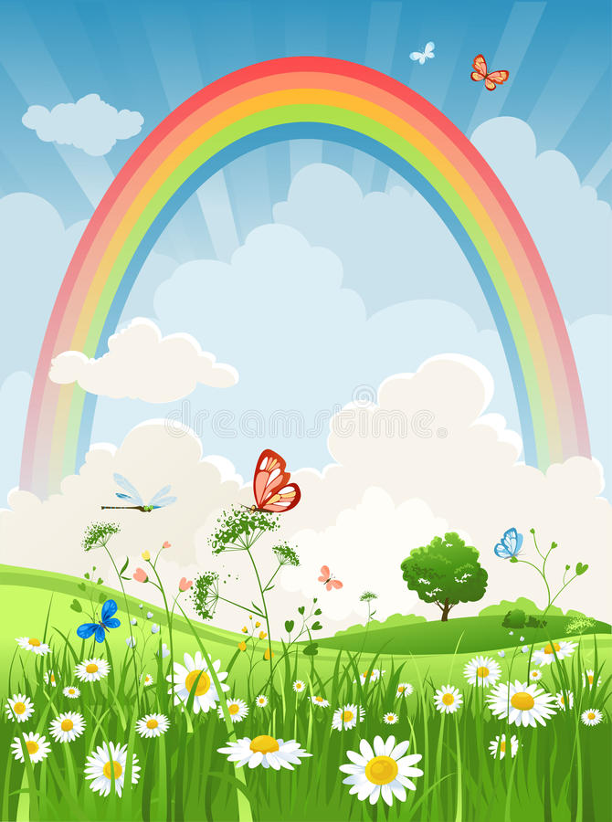 Día de verano con el arco iris stock de ilustración
