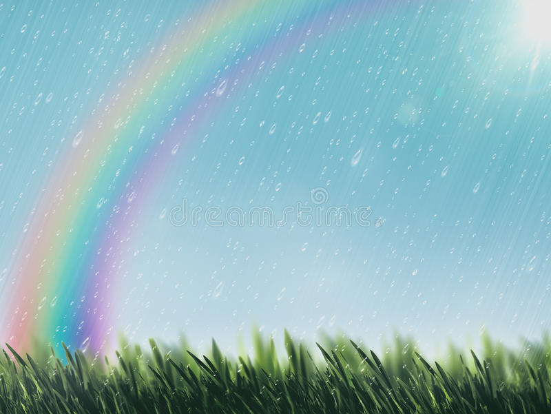 Día de verano de la belleza con gotas de lluvia ilustración del vector