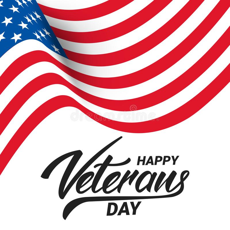 Día de veteranos Bandera para la celebración del día de veteranos de los E.E.U.U. Bandera ondulada y mano de los E.E.U.U. letetri stock de ilustración