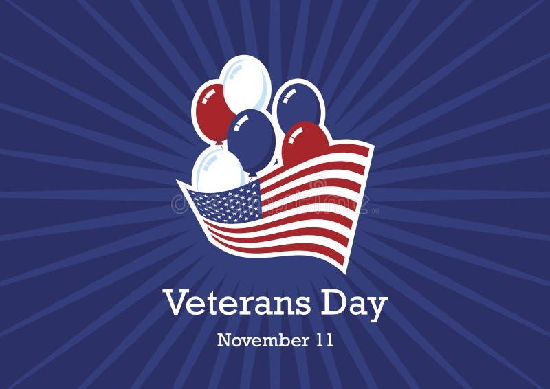 Día de veteranos con un vector de la bandera americana y de los globos ilustración del vector