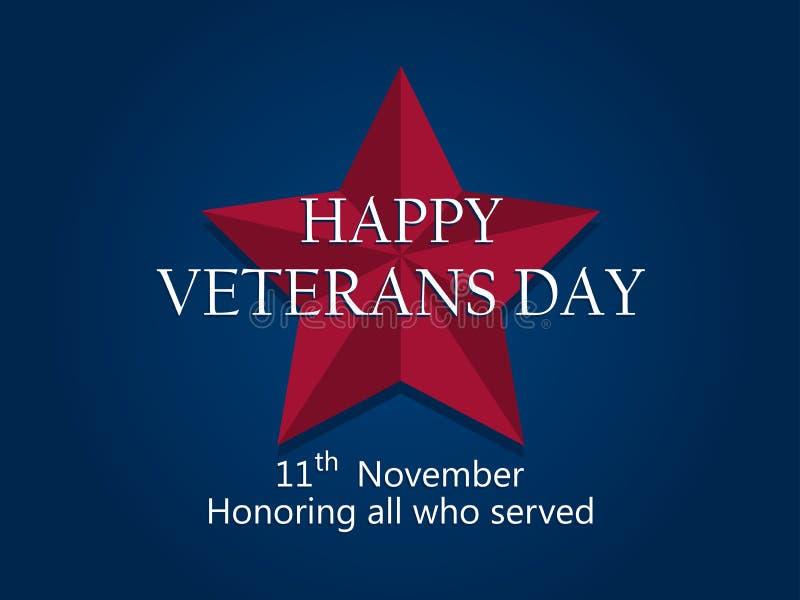 Día de veteranos feliz el 11 de noviembre Honrando a todos que sirvieron Estrella cinco-acentuada roja en fondo azul Vector stock de ilustración