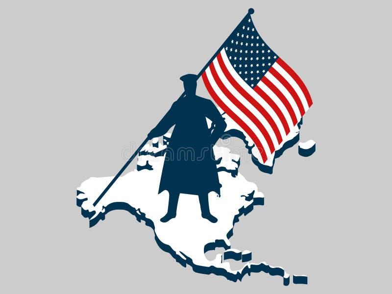 Día de veteranos Hombre con la bandera de los E.E.U.U., militar Norteamérica continente Veteranos de los héroes de la guerra de l ilustración del vector