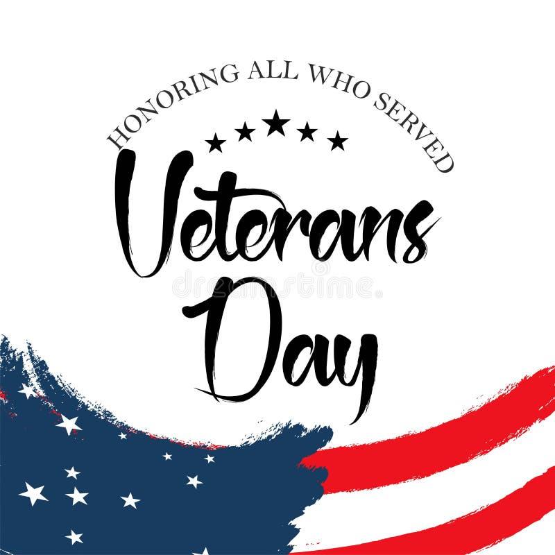 Día de veteranos Honrando a todos que sirvieron stock de ilustración