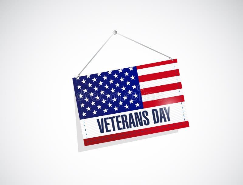 día de veteranos nosotros ejemplo de la bandera de la ejecución ilustración del vector