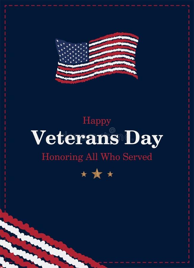 Día de veteranos Tarjeta de felicitación con la bandera de los E.E.U.U. en fondo Evento americano nacional del día de fiesta Ejem ilustración del vector