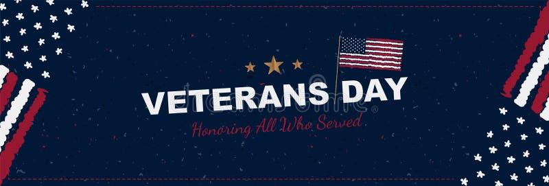 Día de veteranos Tarjeta de felicitación con la bandera de los E.E.U.U. en fondo con textura Evento americano nacional del día de stock de ilustración