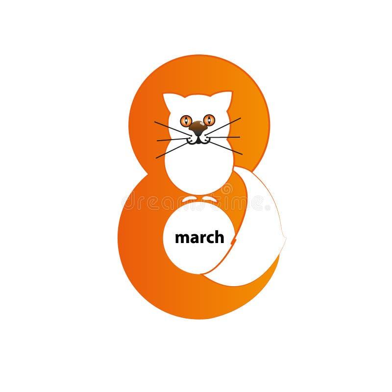 Día de Woman's - 8 de marzo - gato stock de ilustración