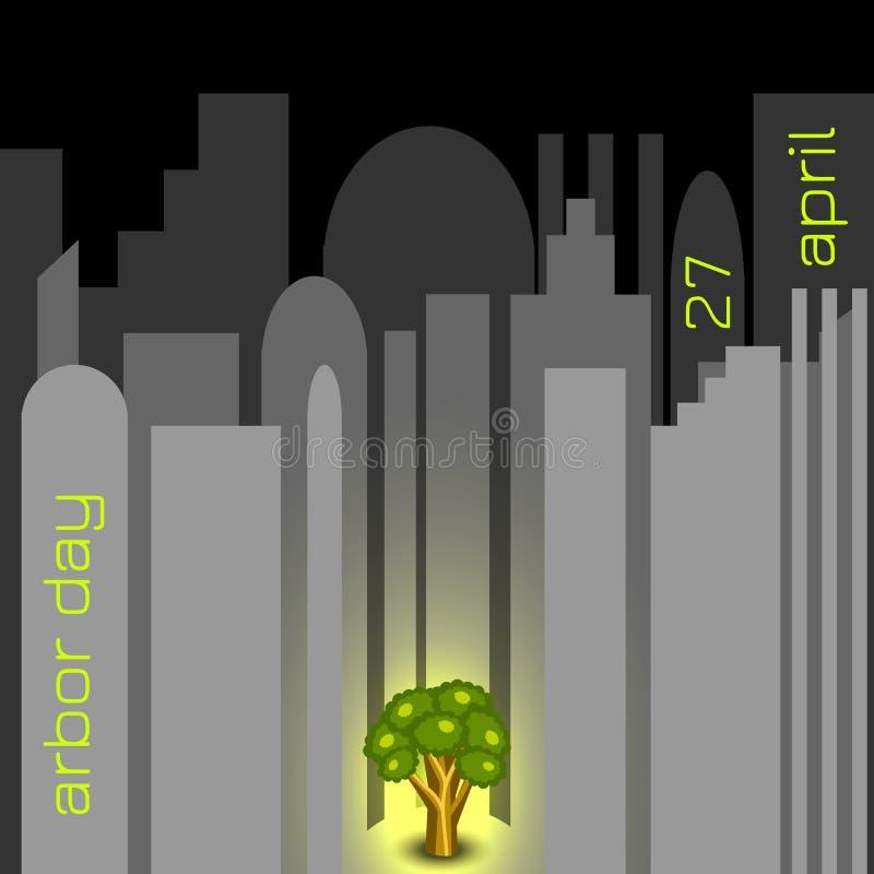 Día del árbol nacional Árbol en ciudad gris libre illustration