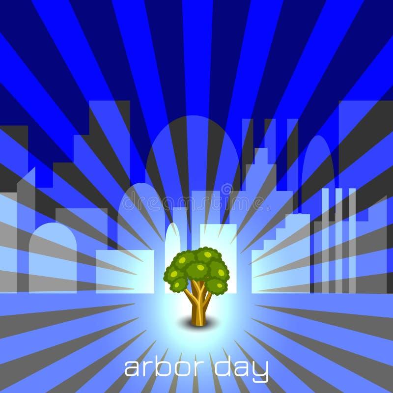 Día del árbol nacional Árbol en ciudad gris stock de ilustración