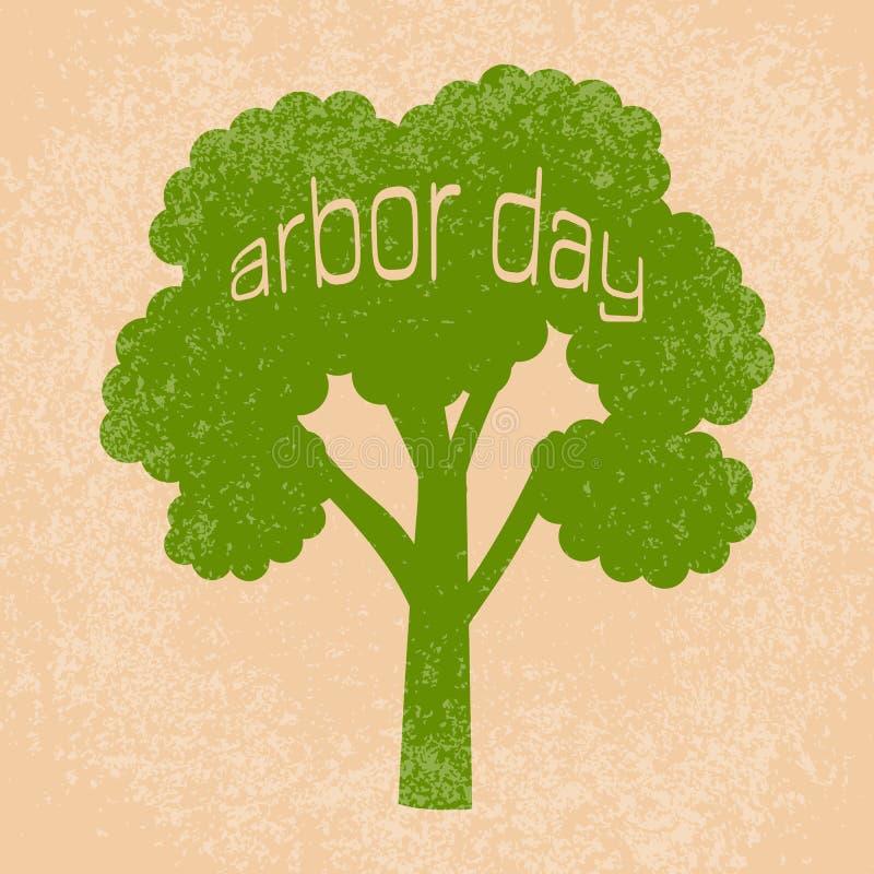 Día del árbol nacional Silueta de un árbol con día del árbol del texto stock de ilustración