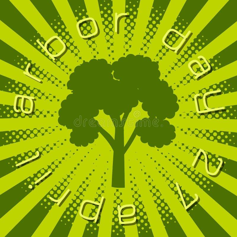 Día del árbol nacional Silueta de un árbol con día del árbol del texto libre illustration