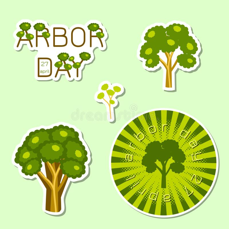 Día del árbol nacional stickers stock de ilustración