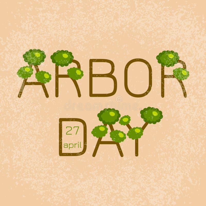 Día del árbol nacional Día del árbol del texto bajo la forma de árboles ilustración del vector