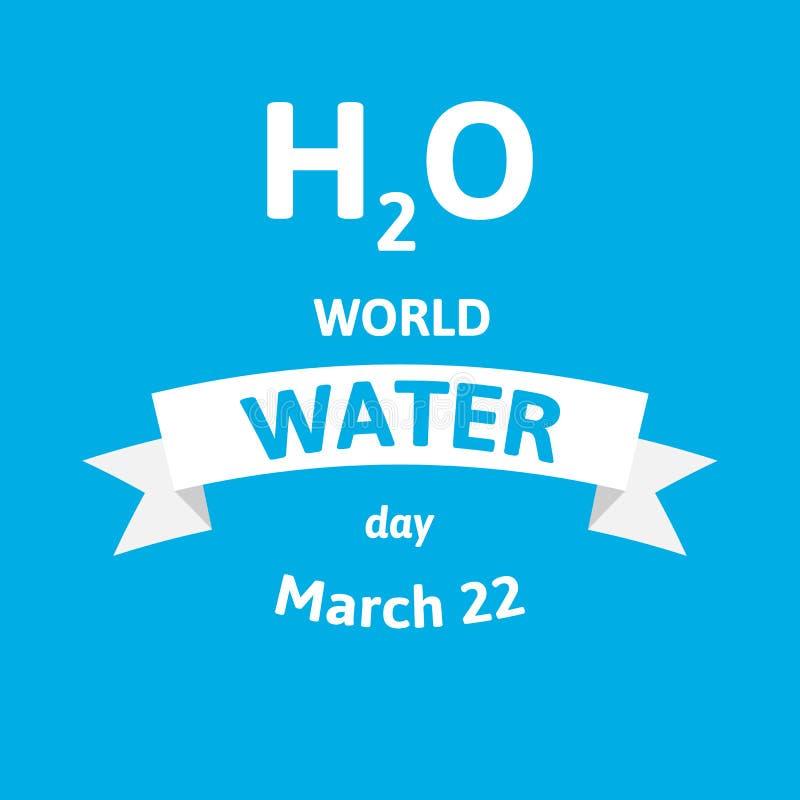 Día del agua del mundo Tarjeta de felicitación del ejemplo del vector con fórmula de H2O Diseño plano del estilo en azul stock de ilustración