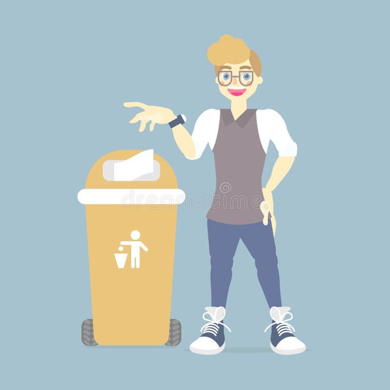 día del ambiente mundial con basura que lanza del hombre en papelera de reciclaje ilustración del vector