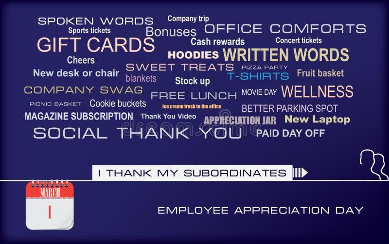 Día del aprecio del empleado de la postal ilustración del vector