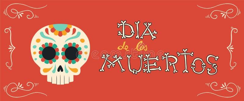 Día del arte dibujado de la bandera del cráneo del azúcar de la mano muerta libre illustration
