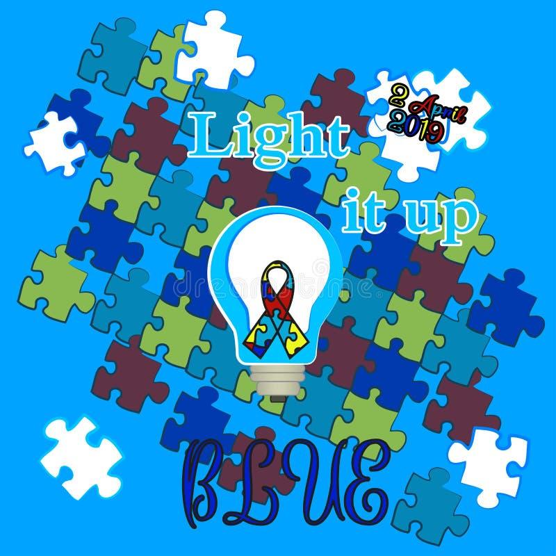 Día del autismo Ayuda para los niños con autismo Camiseta ilustración del vector