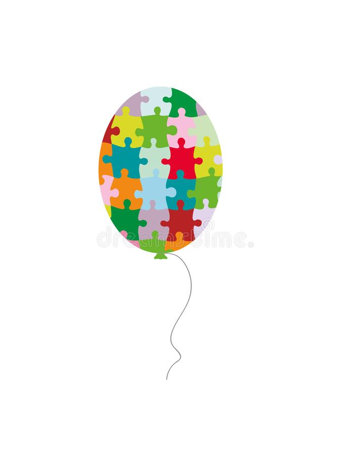 Día del autismo del mundo Globo olorful del ¡de Ð hecho de pedazos del rompecabezas Ilustración del vector stock de ilustración