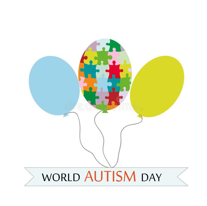 Día del autismo del mundo Globo olorful del ¡de Ð hecho de pedazos del rompecabezas Tres globos aislados en el fondo blanco Ilust libre illustration