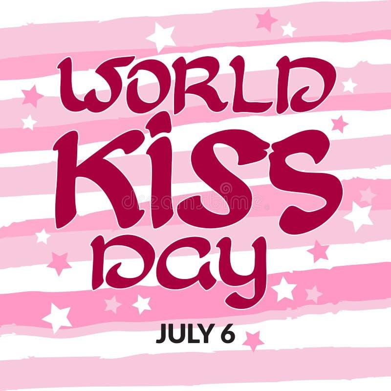Día del beso del mundo de la enhorabuena con palabras manuscritas 6 de julio ilustración del vector