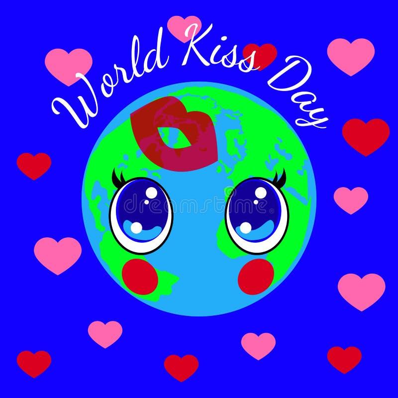Día del beso del mundo 6 de julio Estilo de Kawai - ojos y labios Tierra del planeta, corazones Impresión del beso stock de ilustración