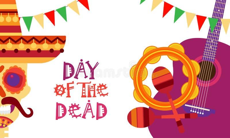 Día del cráneo de mexicano tradicional Halloween Dia De Los Muertos Holiday del concepto muerto libre illustration