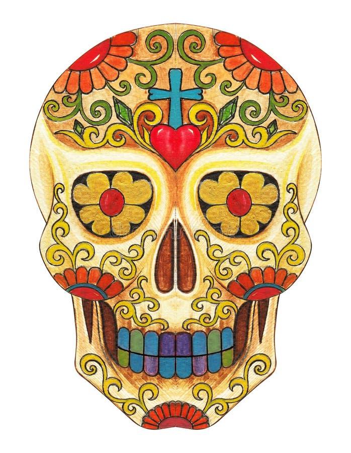 Día del cráneo del arte del papá ilustración del vector