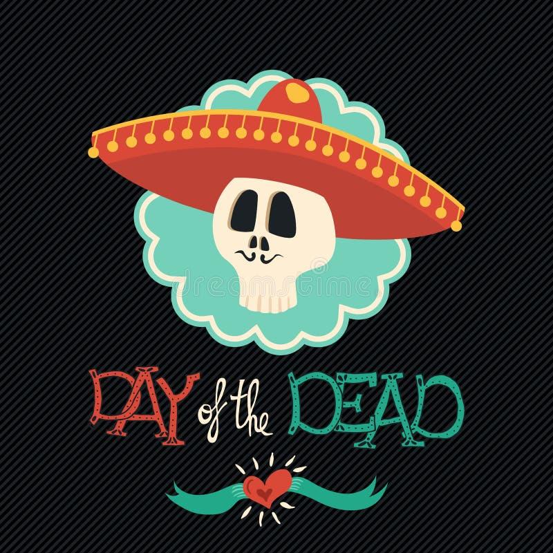 Día del cráneo mexicano muerto del azúcar del sombrero del mariachi stock de ilustración