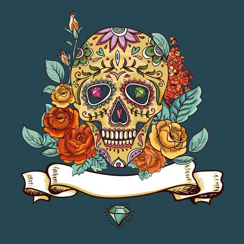 Día del cráneo y de las flores de los muertos ilustración del vector