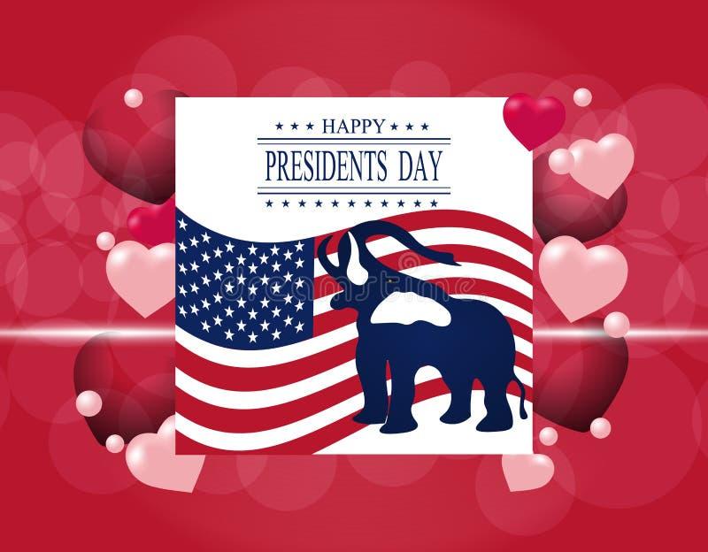 Día del ` de los presidentes Tarjeta de felicitación El elefante en el fondo de la bandera de los E.E.U.U. La inscripción con la  stock de ilustración