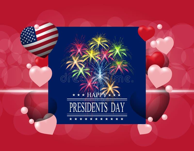 Día del ` de los presidentes Tarjeta o invitación de felicitación La inscripción con los deseos de la felicidad Fuegos artificial libre illustration