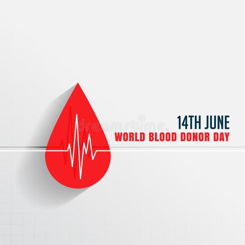 Día del donante de sangre del mundo con gota y latido del corazón de sangre ilustración del vector