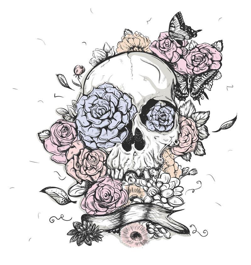 Día del ejemplo del vector del cráneo y de las flores de los muertos libre illustration