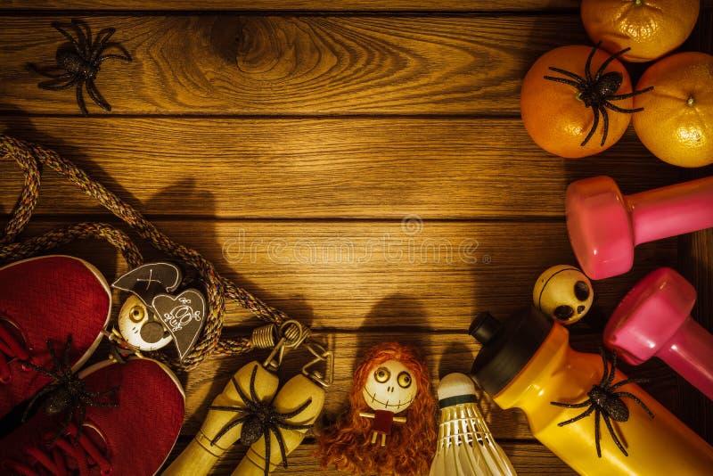 Día del feliz Halloween con la aptitud, ejercicio, elaboración sana fotos de archivo libres de regalías
