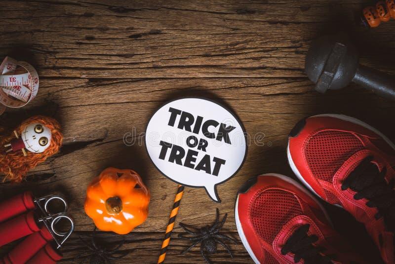 Día del feliz Halloween con la aptitud, ejercicio, elaboración sana fotografía de archivo libre de regalías