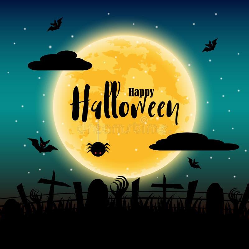 Día del feliz Halloween con la Luna Llena en fondo Palos y elementos de la araña y del cadáver d?a de fiesta y concepto del festi stock de ilustración